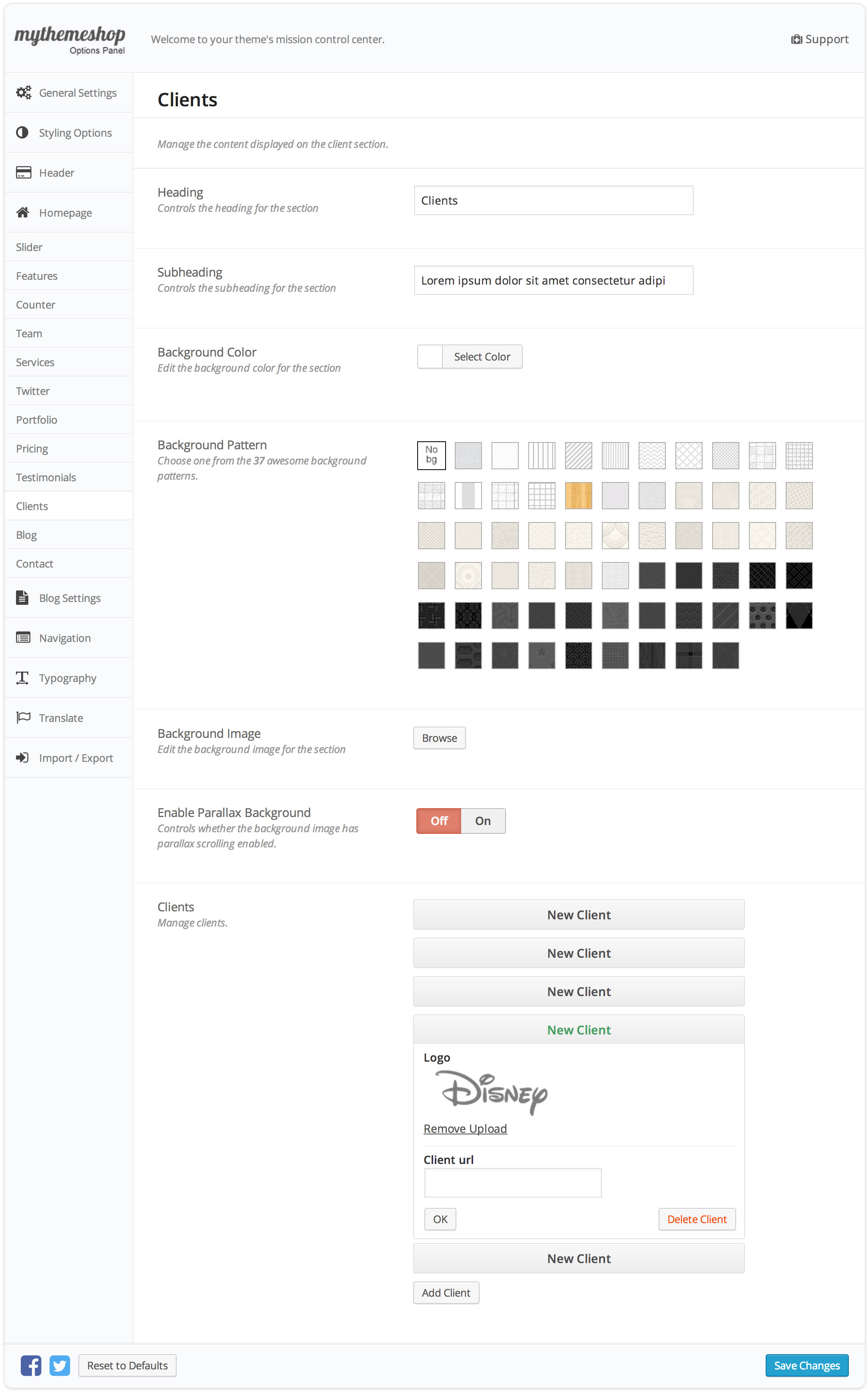 Onepage Clients Settings